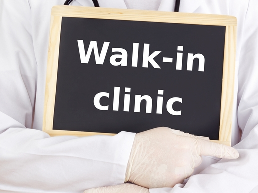 Doctor shows information: walk-in clinic